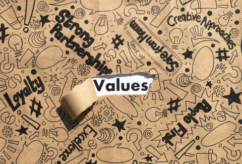 Torn brown paper revealing the word values