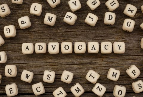 Tiles spelling out the word Advocacy